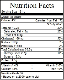 Nutrition Facts Mug Cake de Manzana